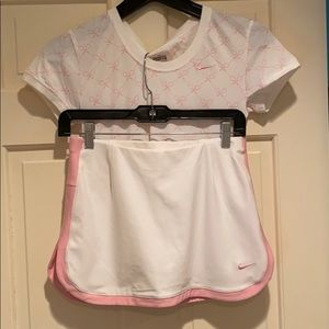 Pink and White Nike Tennis Set